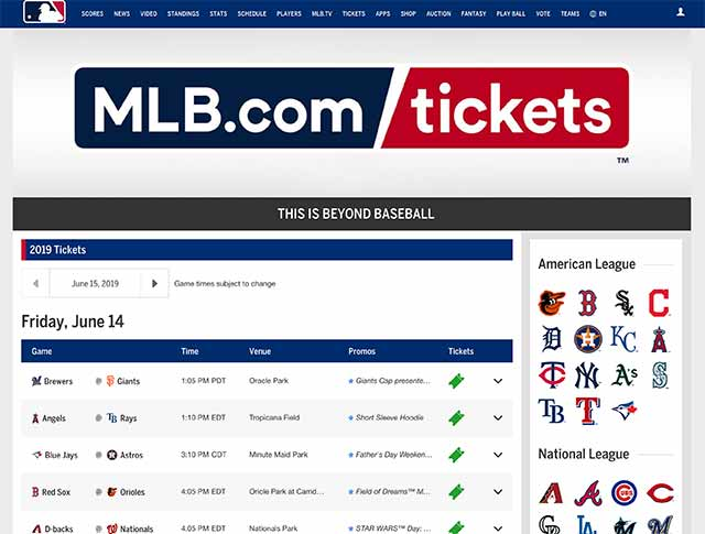 MLB公式ページで購入する